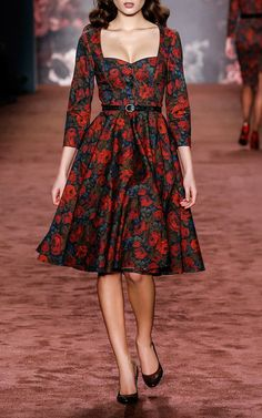 Lena Hoschek's Tea Time Winter Rose Dress Look 29 on Moda Operandi from The Brits Collection