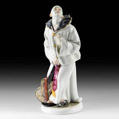 Grande statuette en porcelaine de Karl Ens (Volkstedt) représentante Pierrot avec la guitare Pierrot, ou Pedrolino, est un personnage de l'ancienne comédie italienne Époque XXe siècle