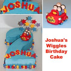 Number 2 Wiggles Cake by Kat's Cakes, 2nd Birthday Cake Boy, Wiggles Birthday, Wiggles Party, Second Birthday Ideas, Boy Birthday Parties, Number 2 Cakes, Wiggles Cake, Cricut Cake, Birthday Numbers