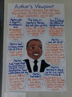 My Brother Martin anchor chart for Author's Purpose (4th grade Journeys text)