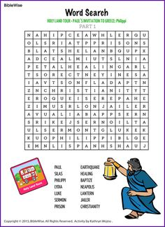 paul and silas wordsearch | Word Search (Philippi) - Kids Korner - BibleWise