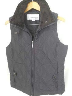 Weatherproof Women's Solid Brown Quilted Vest Size Medium Polyester #Weatherproof1948