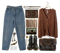 """90s"" by hiddlescat ❤ liked on Polyvore featuring Dr. Martens, INDIE HAIR, Pull&Bear, Priestley's Vintage, Aesop and BOBBY"