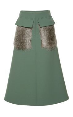 I'm certain I already pinned this but have to note how easy this would be as a DIY. Skirts are a great place to start sewing. Would have to figure out how to stich on the pockets without the stitching showing. Would need to be sewn on by hand. -Bonded Double Worsted Fur Pocket Skirt by MARNI Now Available on Moda Operandi