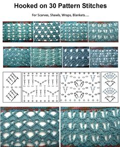 30 great crochet Stitches for Shawls, Scarves, Wraps, Blankets.......