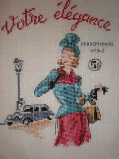 Vintage Broderie Echo de la Mode point de croix