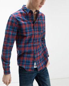 Image 1 of CHECK SHIRT from Zara Camisas Hombre c1fa4e8ade2