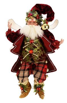 Mark Roberts 'Holly Jolly' Medium Fairy available at White Christmas, Christmas Wreaths, Christmas Decorations, Christmas Stuff, Mark Roberts Fairies, Elves And Fairies, Fairy Figurines, Burgundy And Gold, Vintage Santas