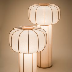 Japanese table lamp, Kiku no hana 01. The shade is made of Mino handcrafted paper and the frame is solid unpainted cedar wood.