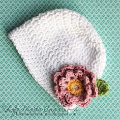 Free Crochet Hat Pattern...actually 2 and more links to flower and leaf
