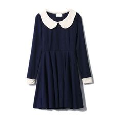 Retro Peter Pan Collar Navy Dress (1 315 UAH) ❤ liked on Polyvore featuring dresses, vestidos, платья, tops, women, peter pan dress, blue dress, navy dress, navy long sleeve dress e longsleeve dress