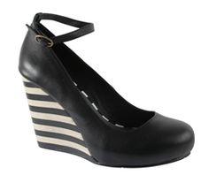 Lola Ramona Ketty Wedge in Black Black/White Heel