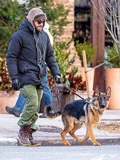 Jake Gyllenhaal walks his dog in downtown NYC