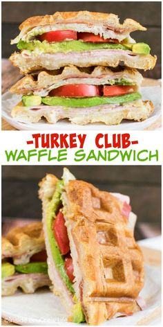Change up your turkey club sandwich by putting it in the waffle iron!!!