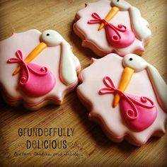 One Dozen Stork Decorated Cookies by GrunderfullyDelish on Etsy