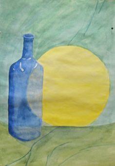 Asetelma vesiväreillä, 6 lk, tavoitteena kuvata pullon läpinäkyvyyttä ja valon heijastumia