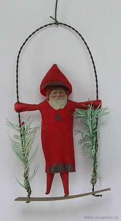 Santa on Swing, circa 1920 I would love to find him! Antique Christmas Ornaments, Old Fashioned Christmas, Christmas Makes, Christmas Past, Victorian Christmas, Primitive Christmas, Vintage Ornaments, All Things Christmas, Handmade Christmas
