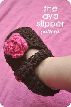 The Ava Slipper Baby Booties Crochet PATTERN by LittleBirdieShoppe, $4.00