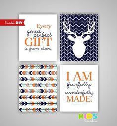 Printable DIY Burnt Orange, Mint, Navy Woodland Deer nursery art, Deer, Arrows, Psalm 139 14, James 1 17 ( 114set810)( n101 )
