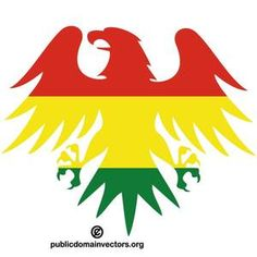 PublicDomainVectors.org-Vector illustration of heraldic eagle colored with colors of the flag of Bolivia.