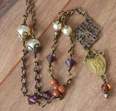 Religious Catholic Necklace Mother of by FifteenMagpieLane