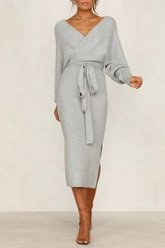 Lopolly V Neck Autumn Dress dresses Lopolly V Neck Backless Sweater Dress Mode Outfits, Fashion Outfits, Womens Fashion, Fashion Tips, Fashion Clothes, Dress Fashion, Dress Clothes For Women, Fashion Hacks, Woman Clothing