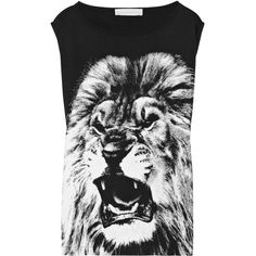 Stella McCartney Angry Lion printed cotton-blend jersey T-shirt (€135) ❤ liked on Polyvore featuring tops, shirts, t-shirts, tank tops, blusas, black, sleeveless, lion shirt, sleeve less shirts and black sleeveless shirt