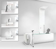 The Elevated Bathtub - Designers: Zhang Jiangpeng & Zou Tao Portable Fireplace, Tub Enclosures, Toilet Wall, Gadgets, Yanko Design, Shower Heads, Home Furnishings, Construction, House Design