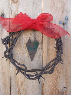 primitive rusted wire and barbed wire Christmas by jackrabbitflats, $9.00