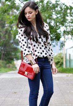 polka dot blouse... mmmm....