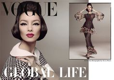 Fei Fei Sun channels modeling legend China Machado for the Janaury cover of Vogue Italia. The Chinese beauty dons a tweed jacket from Chanel in the studio image lensed by Steven Meisel with styling by Lori Goldstein.