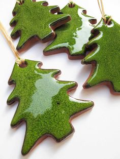 Traditional Christmas Green Ceramic Tree Ornaments And Gift Tags Holiday Shopping Under 25 USD