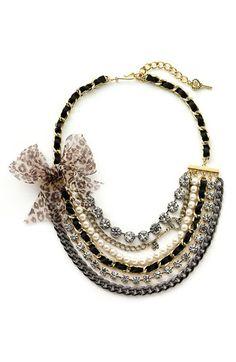 Betsey Johnson Leopard Bow Bib Necklace