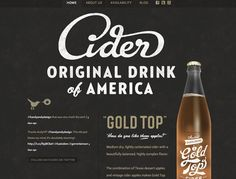 Web Design: Austin Eastciders featuring Gold Top Cider // Austin, Texas - Nice use of type, texture, illustration, minimal color palette. Simon Walker, Design Web, Web Design Trends, Graphic Design, Design Ideas, Design Layouts, Type Design, Flat Design, Design Elements