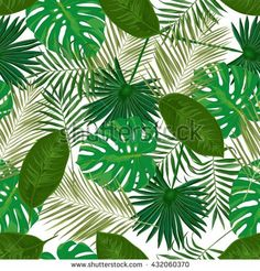 Vector seamless pattern with tropical  green leaves