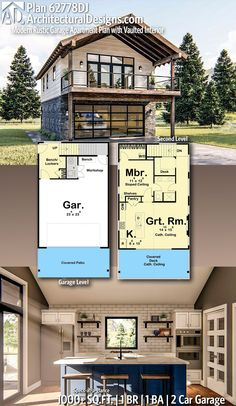 Plan Modern Rustic Garage Apartment Plan with Vaulted Interior Architectural Designs Home Plan gives you 1 bedrooms, 1 sq. plus a 2 Car Garage! Ready when you are! Where do YOU want to build? Garage Apartment Plans, Garage Apartments, One Bedroom Apartment, Garage Loft Plans, Garage With Loft, Apartment Ideas, Garage Building Plans, Above Garage Apartment, Small Apartment Plans