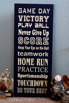 Game Day Subway Art - wooden sign. $34.00, via Etsy.