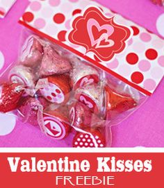 Free Valentine's Day printable Hershey Kisses stickers and treat bag topper.
