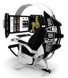This is the ultimate in ergonomic computer workstations. If you find yourself in an environment where most of your day is spent monitoring or working on a computer then this is the workstation you need. Gaming Room Setup, Computer Setup, Gaming Chair, Gaming Computer, Computer Rooms, Gaming Pcs, Ergonomic Computer Workstation, Farmhouse Table Chairs, Dining Chairs