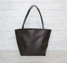 Beautiful Very Soft & Lightweight Pebbled Dark-Brown cow leather tote bag https://www.etsy.com/shop/BrauvalStock
