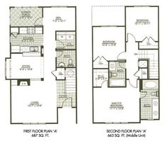 Modern Town House Two Story House Plans Three Bedrooms. #houseplan
