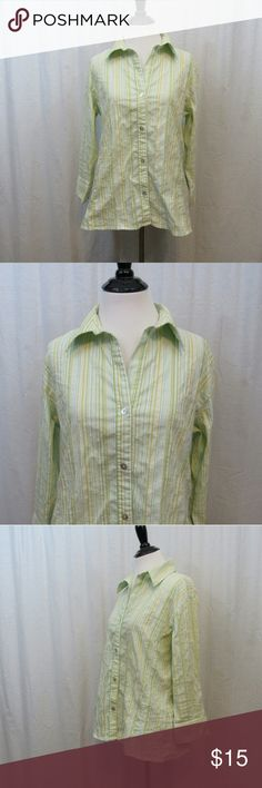 "Chico's Blue Green Striped Button Front Top 1 S Brand: Chico's Size: 1 Material: 68% Cotton 27% Nylon 5% Spandex Care Instructions: Machine Wash  Bust: 40"" Sleeves: 18"" Length: 25""  All clothes are in excellent used condition. No tears, stains or holes unless otherwise I noted.   P23 Chico's Tops Button Down Shirts"
