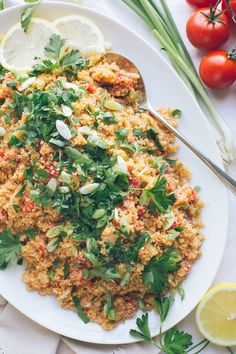This Armenian Bulgur Salad, called Itch or Eech, is so similar to tabbouleh, but with much less parsley and much less chopping. It's such an easy, delicious fresh grain salad, filling enough for lunch or perfect as a side dish with dinner.