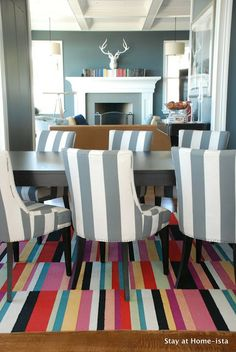 Flor tiles make a perfect rug for under a dining room table with kids!