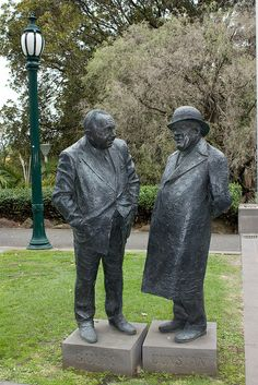 Dunstan and Bolte Statues, Treasury Place, Melbourne. Both were Victorian Premiers. They are the work of Peter Corlett (born 1944), an Australian sculptor, known for his full-figure sculptures cast in bronze, especially his memorial works. They were installed in 1999.