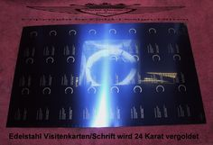 Edelstahl Vistenkarten zum veredeln in 24 Karat Gold. Hier wird nur die Sichtbare Helle Schrift vergoldet.
