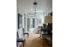 Steven Gambrel - Sag Harbor House with Pair of antique Chairs, Glass Lanterns