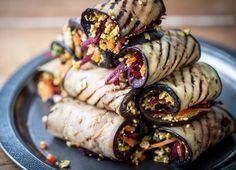 Grilled aubergine rolls