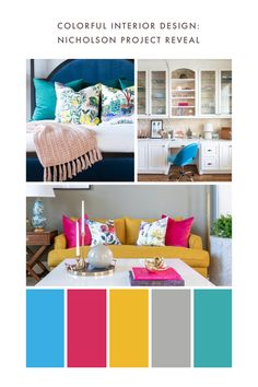 I'm excited to share this project with you because it's a little different from what we normally do. Colorful Interior Design, Colorful Interiors, Yellow Sofa, Design A Space, Sofa Colors, Front Rooms, Extra Seating, Cool Bars, First Home