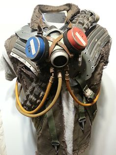 Post apocalyptic jacket vest top armor. Homemade. Gas mask respirator